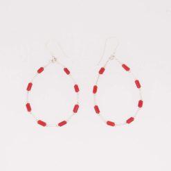 boucles d'oreilles créoles tubes corail méditerranée rouge corse tubes argent