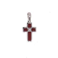 Pendentif or blanc 18k croix corail rouge méditerranée corse et diamants