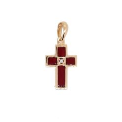 Pendentif or jaune 18k croix corail rouge méditerranée corse et diamants