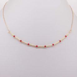 collier perles corail rouge de méditerranée tubes chaînette et fermoir argent doré