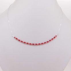 collier perles corail rouge méditerranée boule chaînette et fermoir argent