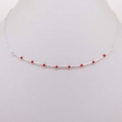 tour de cou perles corail rouge méditerranée tubes chaînette et fermoir argent