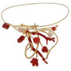 collier rigide argent doré corail rouge méditerranée corail rose du japon motif marin et floral