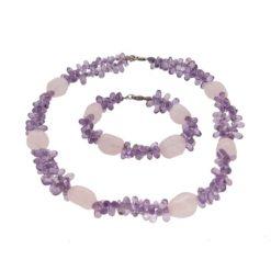 collier et bracelet améthyste et quartz rose fermoir argent