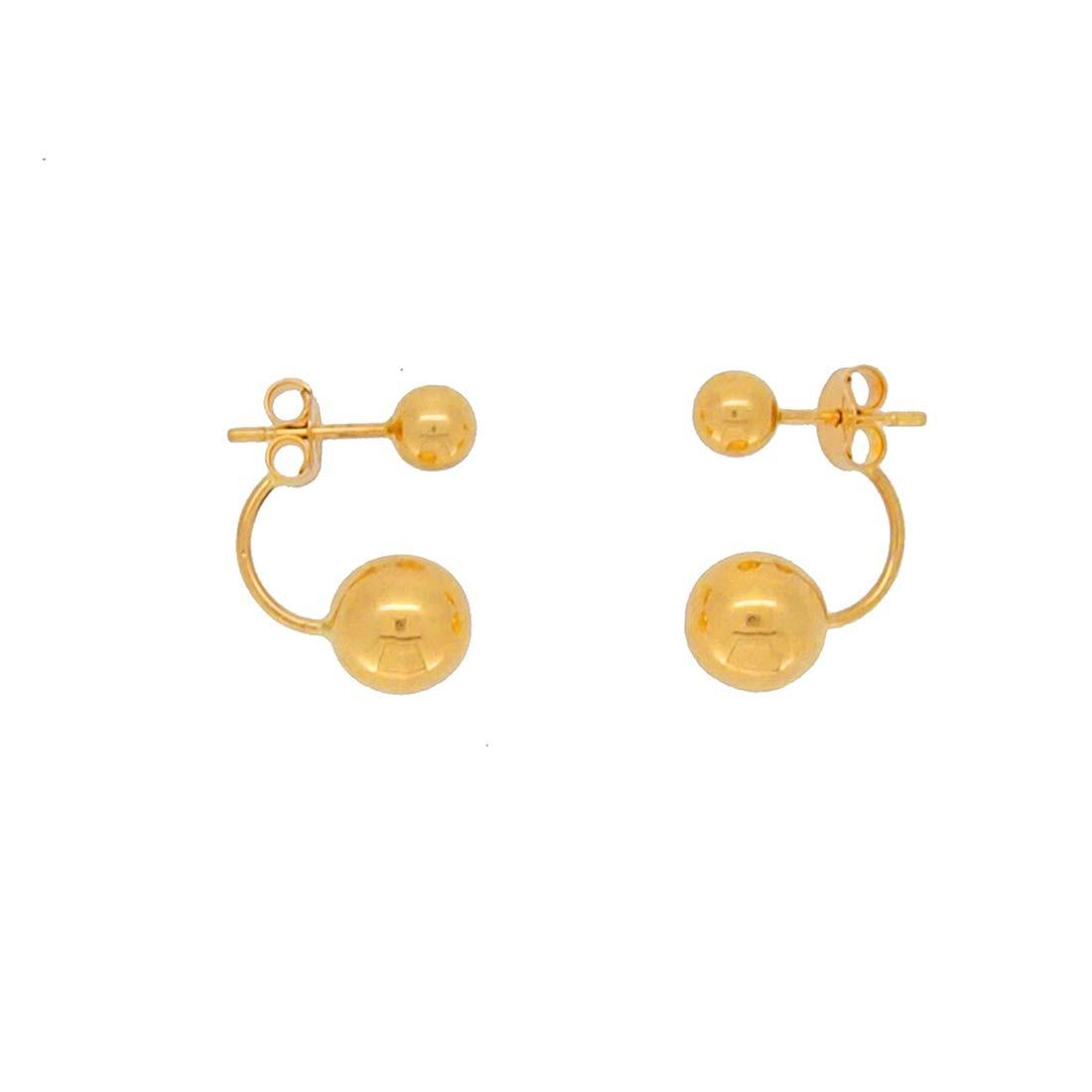 boucles d'oreilles double boules or jaune 18k