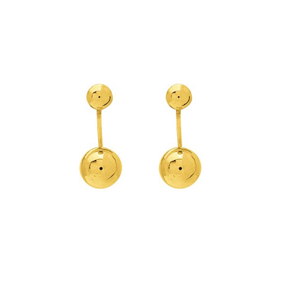boucles d'oreilles double boules en or jaune 18k
