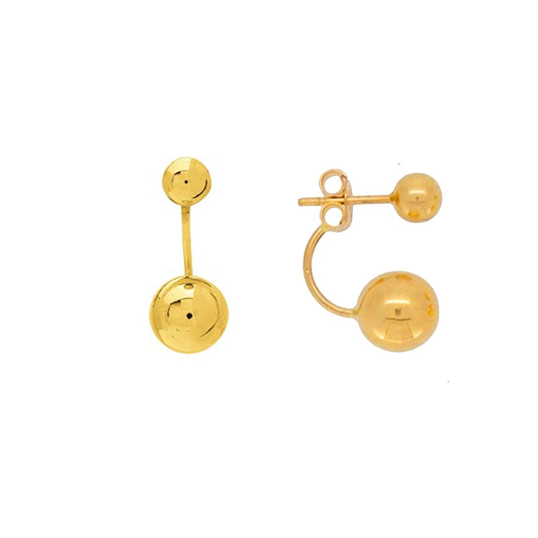 boucles d'oreilles double boules or jaune 18k systeme poussette belge