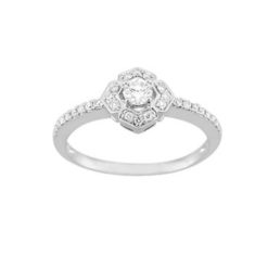 Bague solitaire or blanc 18k et diamants