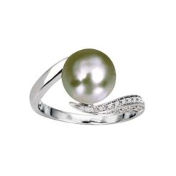 bague or blanc 18k perle tahiti et diamants