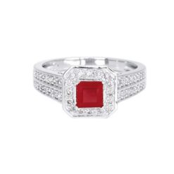 bague or blanc 18k rubis et diamants