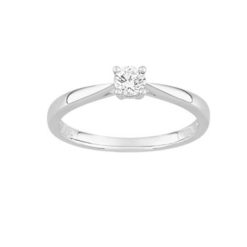 bague or blanc18k solitaire diamants 0.20 carat 4 griffes