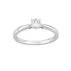 bague or blanc18k solitaire diamants 0.30 carat 4 griffes