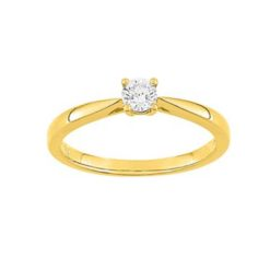bague or jaune 18k solitaire diamants 0.20 carat 4 griffes