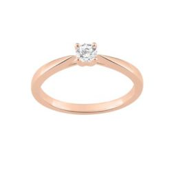 bague or rose 18k solitaire 4 griffes diamants 4 griffes