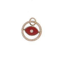 bracelet or jaune 18k oeil corail rouge méditerranée et diamants face