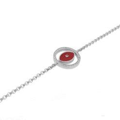 Bracelet or blanc 18k diamants et corail rouge méditerranée Corsica