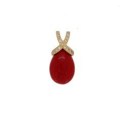 Pendentif or jaune 18k diamants et goutte corail méditerranée
