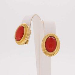 boucles d'oreilles or jaune 18k systeme tige clip et corail rouge méditerranée corse