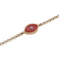 bracelet oeil or jaune 18k diamant et corail rouge méditerranée face