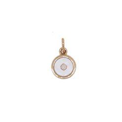 Pendentif or jaune 18k diamant nacre blanche chiffre 13