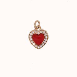 Pendentif or jaune 18k coeur corail rouge méditerranée et diamants vue de face
