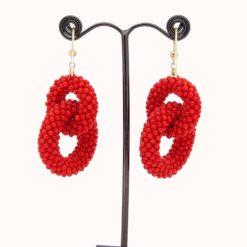 Boucles d'oreilles or jaune 18k double anneau corail rouge méditerranée perles tissées