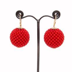 Boucles d'oreilles tissées perles corail rouge de méditerranée