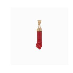 Pendentif main corail rouge de méditerranée calotte or jaune 18k tradition corse