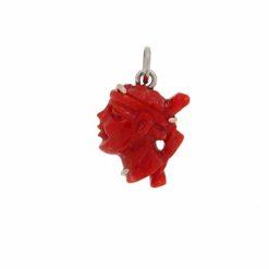 pendentif testa mora corail rouge de corse et or blanc 18k