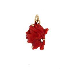 Pendentif tête de maure corail rouge méditerranée corse et or jaune 18k
