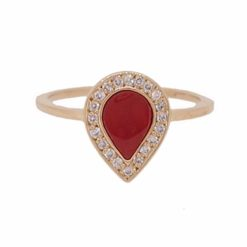 Bague goutte or jaune 18k, diamants et corail rouge.