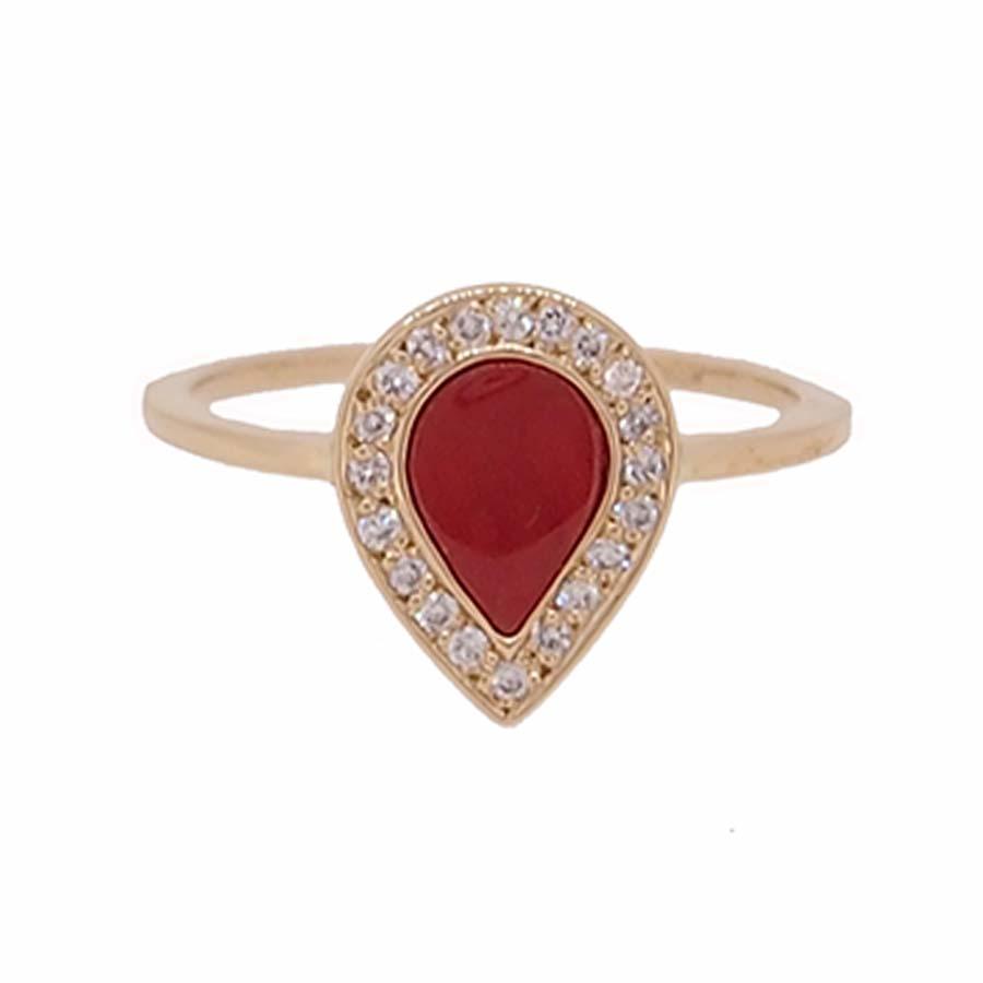 Bague or jaune 18k diamants goutte corail rouge de méditerranée