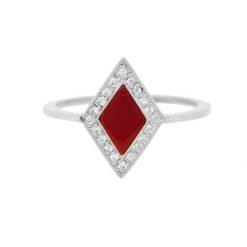 bague or blanc 18k diamants et losange corail rouge de méditerranée corse