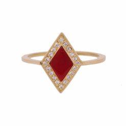 bague or jaune 18k diamants et losange corail rouge de méditerranée corse