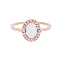 bague or rose 18k ovale diamants nacre blanche