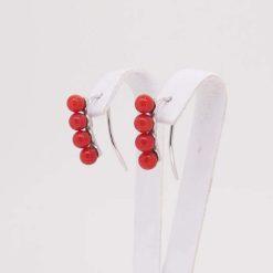 Boucles d'oreilles or blanc 18k et perles corail rouge de méditerranée