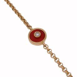 Bracelet rond or jaune 18k diamants et corail rouge de méditerranée