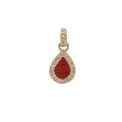 Pendentif goutte or jaune 18k diamants et corail rouge de méditerranée