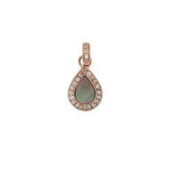 pendentif goutte or rose 18k diamants et nacre grise