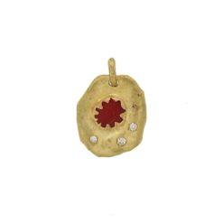 pendentif or jaune 18k style pièce de monnaie ancienne avec corail rouge de méditerranée