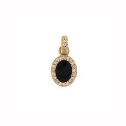 pendentif or jaune 18k diamants marbre noire