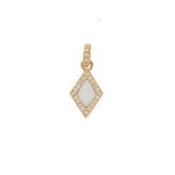 Pendentif collection épure or jaune 18k et diamants avec nacre blanche