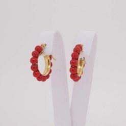 boucles d'oreilles or jaune 18 carats et perles corail rouge de corse