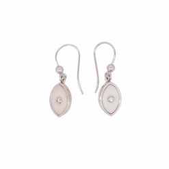 Boucles d'oreilles or blanc 18k diamants et corail blanc