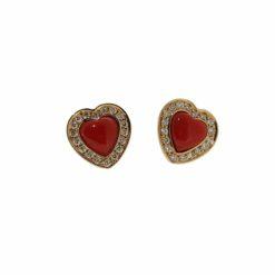 Boucles d'oreilles or jaune 18k et diamants avec coeur corail rouge de méditerranée
