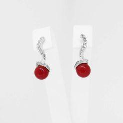 Boucles d'oreilles or blanc 18k diamants et perles corail rouge méditerranée