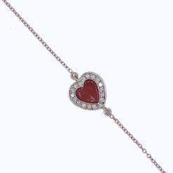 Bracelet or blanc 18k avec coeur en corail rouge de méditerranée sertie de diamants