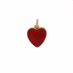 Pendentif coeur corail rouge de méditerranée corse avec monture en or jaune 18k