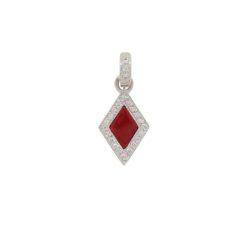 Pendentif or rose diamants et corail rouge de méditerranée corse