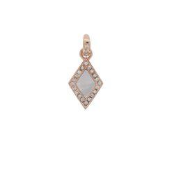 Pendentif or rose diamants et nacre grise